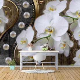 Fototapet, Orhidee albe și perle pe un fundal auriu