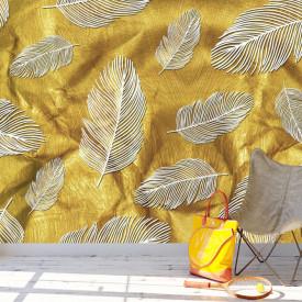 Fototapet Pentru Tavan, Frunze de aur pe un fundal bej