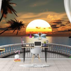 Fototapet, Priveliște de la balcon la un cuplu de lebede