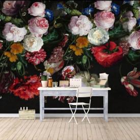 Fototapet, Un buchet de flori multicolore pe un fundal negru