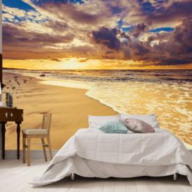 Fototapet, Vedere a unui apus de soare frumos pe malul mării