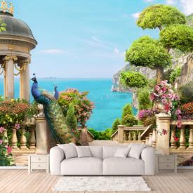 Fototapete 3D, Balcon cu păun și vedere la mare