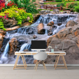 Fototapete 3D, O cascada în grădină