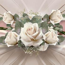 Fototapete 3D, Trandafiri albi pe fundal de aur