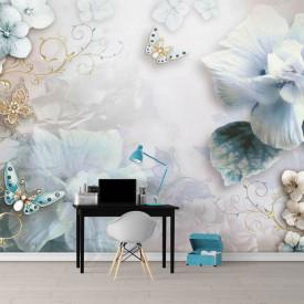 Fototapete, Flori albastre și fluturi cu aripi din pietre prețioase