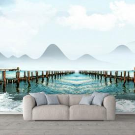 Fototapete, Frumoasă vedere la munte de-a lungul lacului