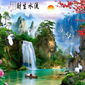 Fototapete, Peisaj montan chinezesc cu lac și barcă
