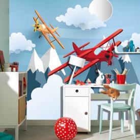Fototapete Pentru Copii, Avionul roșu pe cerul albastru