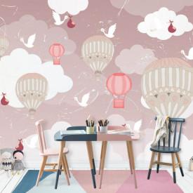 Fototapete Pentru Copii, Baloane în cerul roz