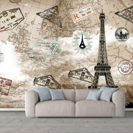 Fototapete, Turnul Eiffel pe fundalul cărții maro