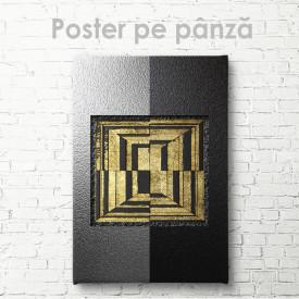 Poster, Abstract metalic cu detalii aurii