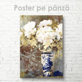 Poster, Bujori albi în vază albastră