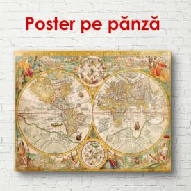 Poster, Harta lumii de culoare maro