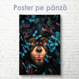 Poster, Maimuță în jurul fluturilor albaștri