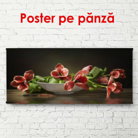 Poster, PPoster, Lalele roșii pe o masă într-o vază