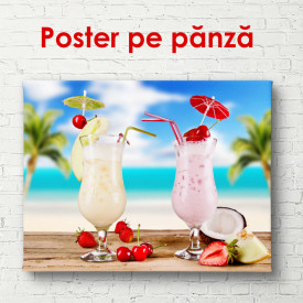 Poster, Smoothie de lapte și căpșuni cu fructe tropicale