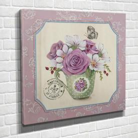 Poster, Trandafirul roz într-o vază