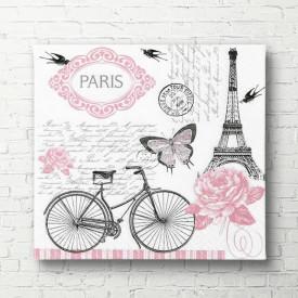 Poster, Turnul Eiffel cu fluturi roz