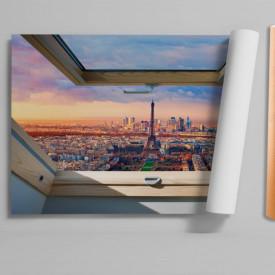 Stickere pentru pereți, Fereastra 3D cu vedere la cerul roz din Paris