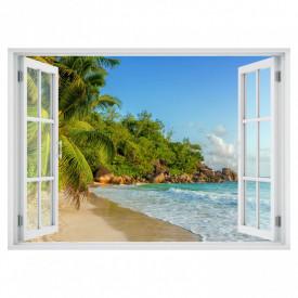 Stickere pentru pereți, Fereastra 3D cu vedere spre plaja cu stânci