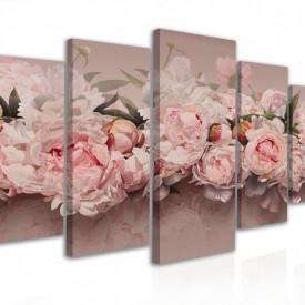 Tablou modular, Bujori roz pal