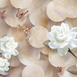 Tablou modular, Flori albe pe fundal bej.