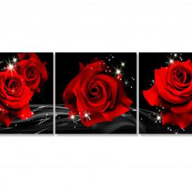 Tablou modular, Trei trandafiri roșii pe un fundal negru