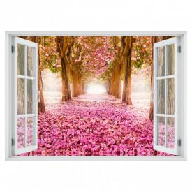 Fereastră falșă, Fereastră 3D cu vederea spre o alee cu flori roz