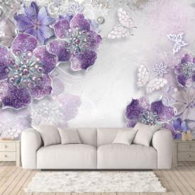Fototapet 3D, Broșă cu flori violet pe un fundal gri