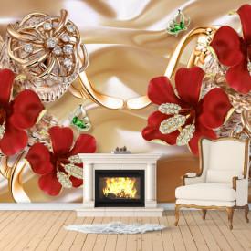 Fototapet 3D, Flori roșii pe un fundal bej