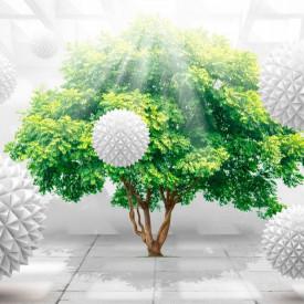 Fototapet 3D, Un copac verde și sfere albe