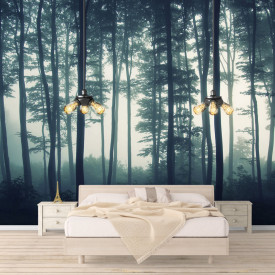 Fototapet, Ceața de dimineață în pădure