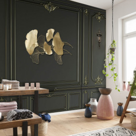 Fototapet Factura, Frunze de aur pe un fond de perete negru