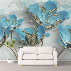 Fototapet Fantezie, Flori albastre pe un fond gri