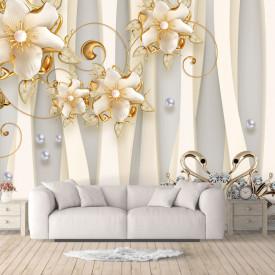 Fototapet Fantezie, Flori bej pe un fond alb și dungi