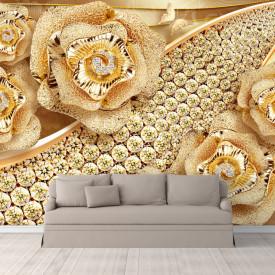 Fototapet Fantezie, Trandafiri de aur pe un fund auriu cu pietre