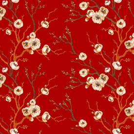 Fototapet Fara Sudura, Crengute cu flori pe fond roșu