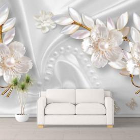 Fototapet, Flori albe pe un fundal de mătase albă