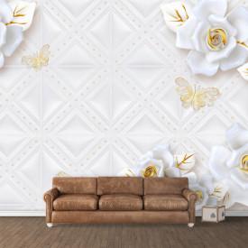 Fototapet, Flori albe pe un fundal delicat