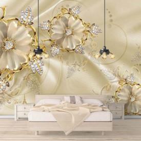Fototapet, Flori albe și pietre prețioase pe un fundal de mătase