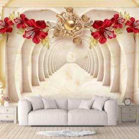Fototapet, Flori roșii aprinse pe fundalul unui tunel 3d