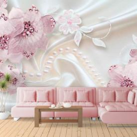 Fototapet, Flori roz și pietre prețioase pe fundalul de mătase albă