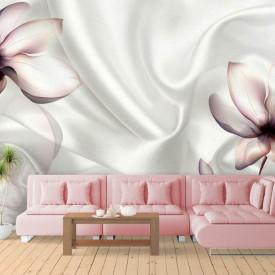 Fototapet, Flori roz și un fundal alb de mătase