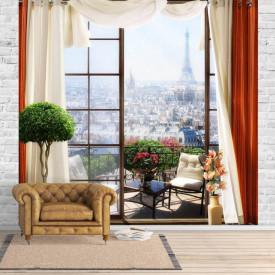 Fototapet Fresco, Fereastra cu perdele roșii cu vedere la Paris