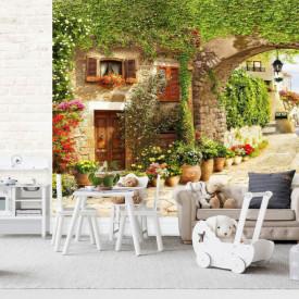 Fototapet Fresco, Fototapete cu o vedere la curtea arcuită din Toscana