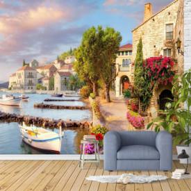 Fototapet Fresco, Un peisaj frumos lângă lac cu bărci albe
