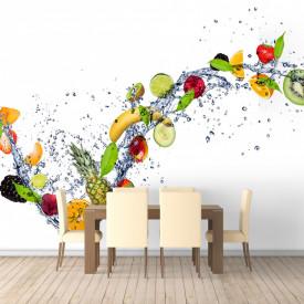 Fototapet, Fructe în apă pe fond alb