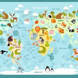Fototapet Harta si Steaguri, Harta politică a copiilor a lumii