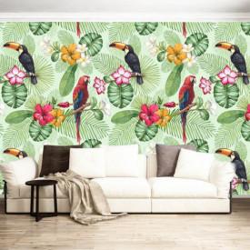 Fototapet, Papagali colorați pe crenguțe verzi