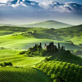 Fototapet, Peisajul verde cu dealuri